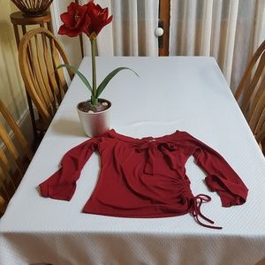 Spoon Tops - Sweet and sexy burgundy BOW blouse